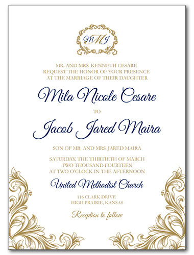 Regal Monogram Wedding Invitation
