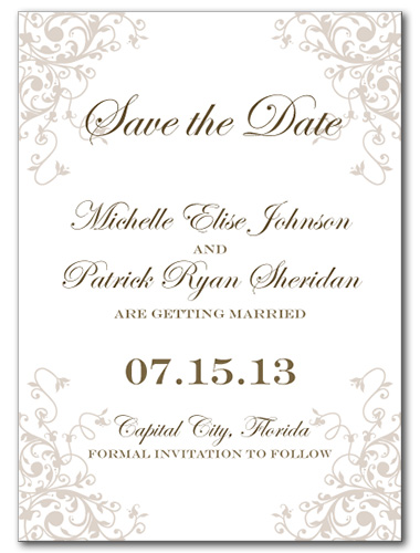 Romantic Flourish Save the Date Card