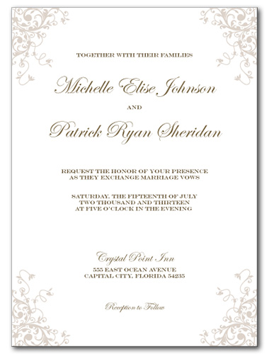 Romantic Flourish Wedding Invitation