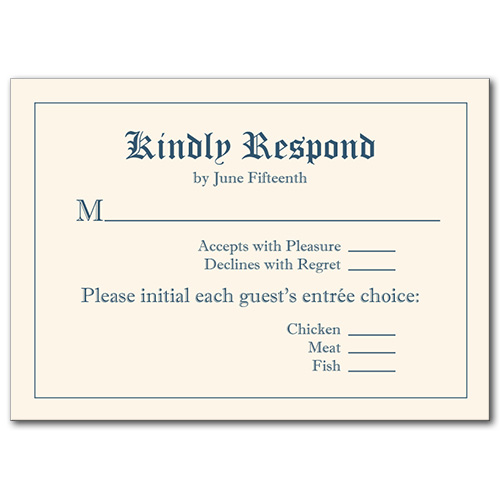 Royal Affair Response Card
