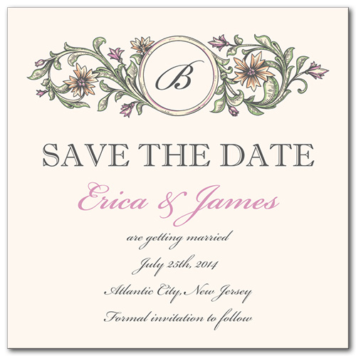 Rustic Leaves Square Save the Date