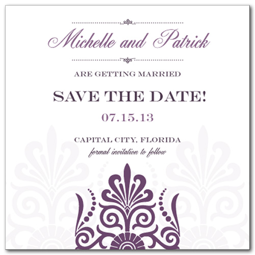 Sheer Plum Square Save the Date Card