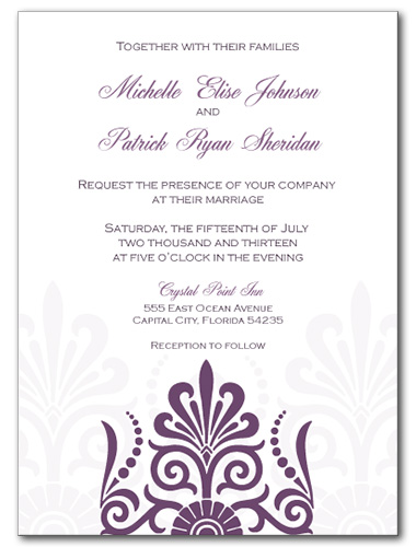 Sheer Plum Wedding Invitation