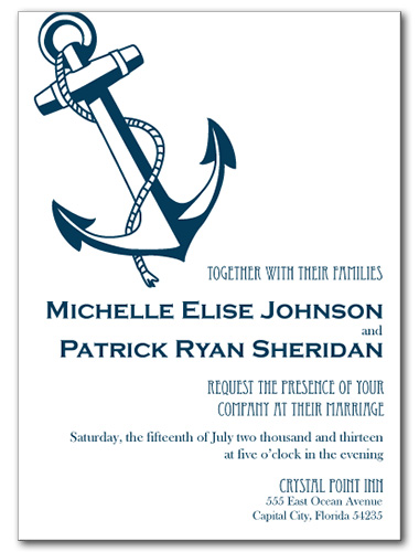wedding invitations, shoreline anchor invitation, Wedding invitations