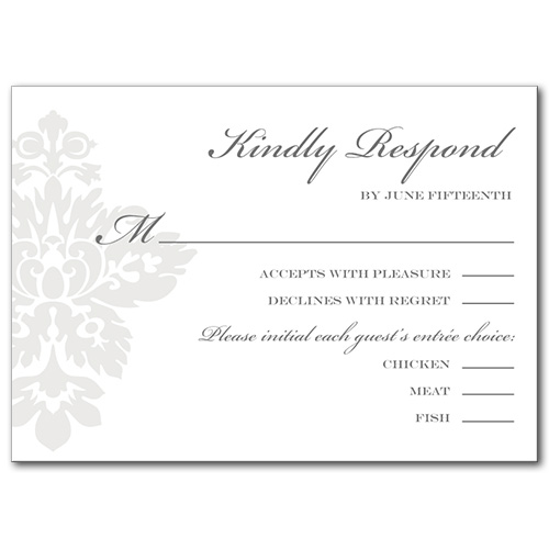 Simple Damask Response Card