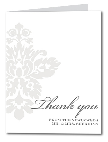 Simple Damask Thank You Card