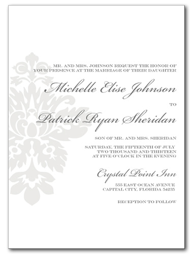 Simple Damask Wedding Invitation