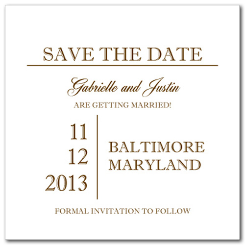 Simple Gold Square Save the Date Card