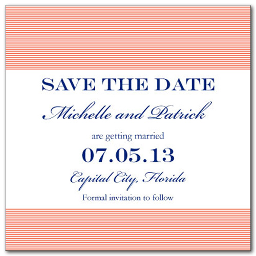 Simplistic Shore Square Save the Date Card