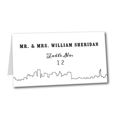 Sleek City Skyline Table Card