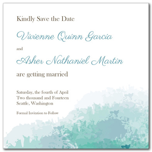 Soft Sea Square Save the Date Card