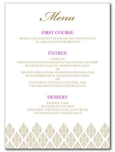 Sparkling Diamond Menu