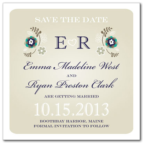 Summer Flourish Square Save the Date Card
