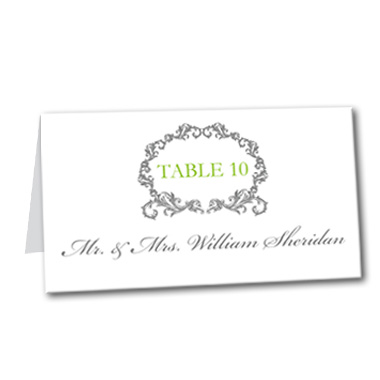 Timeless Chartruese Table Card