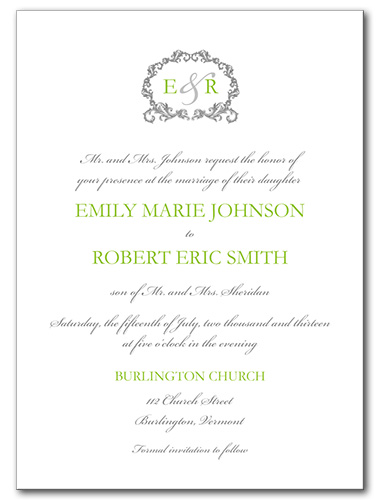 Timeless Chartruese Wedding Invitation