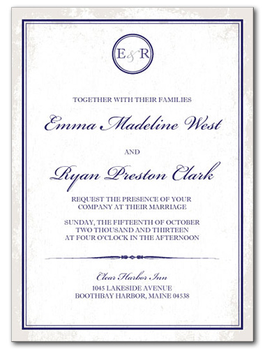 Traditional Nautical Wedding Invitation