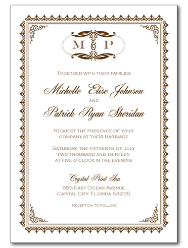 Traditionally Sweet Wedding Invitation
