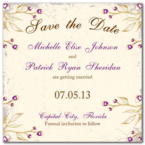 Victorian Magenta Square Save the Date Card