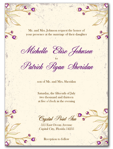 Victorian Magenta Wedding Invitation
