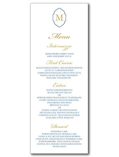 Yacht Club Menu
