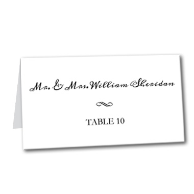 Simply Black Tie Table Card