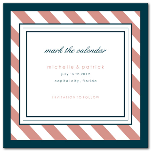 Candy Stripes Square Save the Date Card